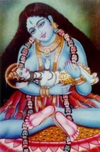 Kali Breast Feeding Shiva
